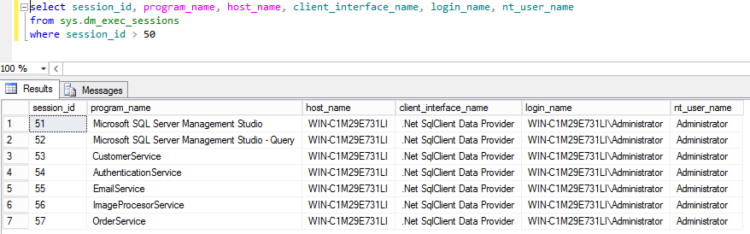 SQL Server current connections with application name