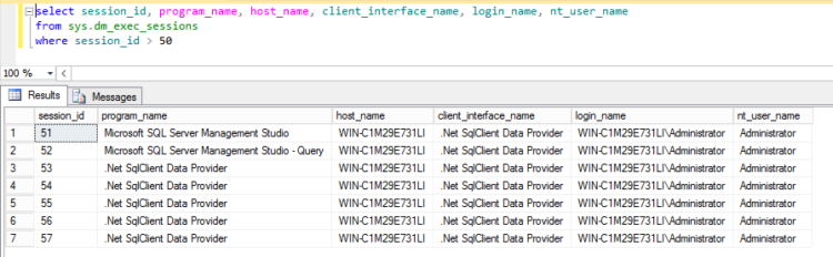 SQL Server current connections